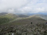 Leaving the summit of Bowfell