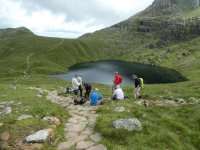 At Angle Tarn, showing the route up to the Rosset Gill descent
